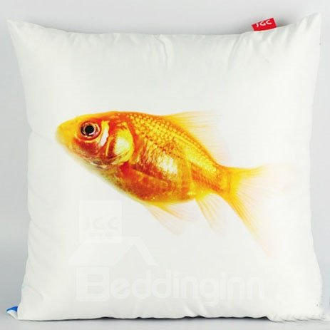 Gorgeous Golden Fish Sky Blue Water Painting Throw Pillow