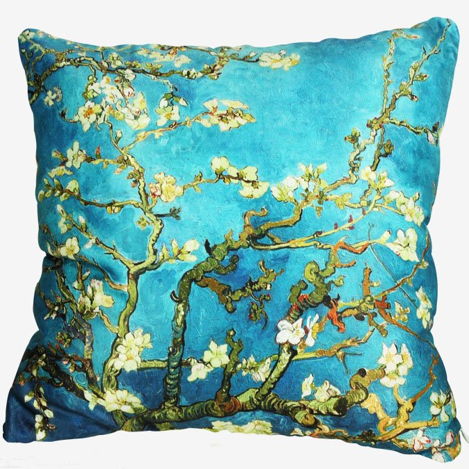 Super Soft Famous Prunus Painting Luxury Green Throw Pillow