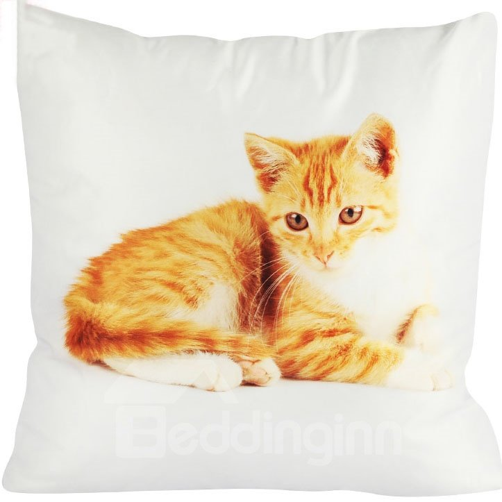 Super Soft Daze Golden Cat Painting Throw Pillow
