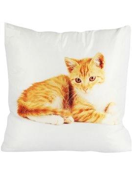Super Soft Daze Golden Cat Painting Throw Pillow