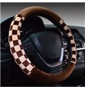 Classic Style Two Colors Squares Short Plush Car Steering Wheel Cover