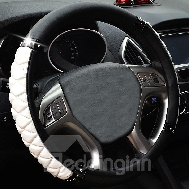 Classical Style Bright Tangerine White and Black Car Steering Wheel Cover