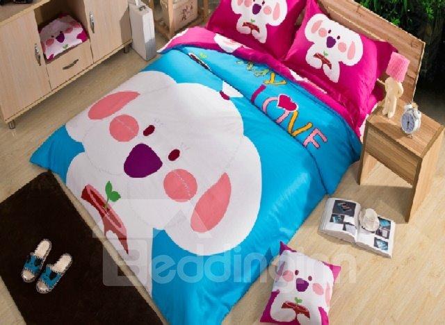 Fancy Luminous Cartoon Dog Print 4-Piece Cotton Duvet Cover Sets