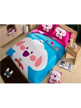 Fancy Luminous Cartoon Dog Print 4-Piece Cotton Duvet Cover Sets