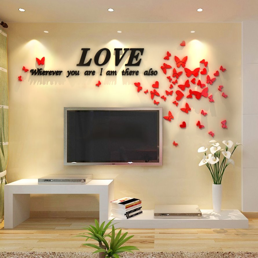 Romantic Houseful Crystal Love and Butterflies Pattern Three-Dimensional Wall Stickers