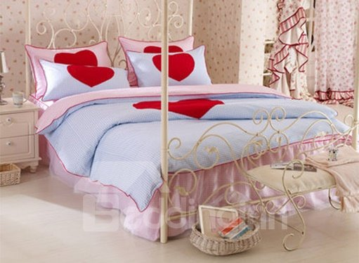 New Arrival Korean Style Red Heart 100% Cotton Duvet Cover Sets
