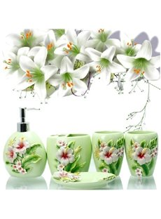 Fancy Graceful Lily Pattern 5-Pieces Bathroom Accessories