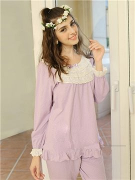 Sweet Lilac Cute Dots Pure Cotton Pajamas Set