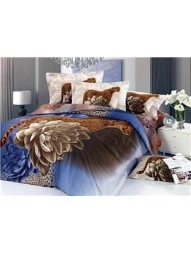 Amazing Flower and Cheetah Print 4-Piece Cotton Duvet Cover Sets