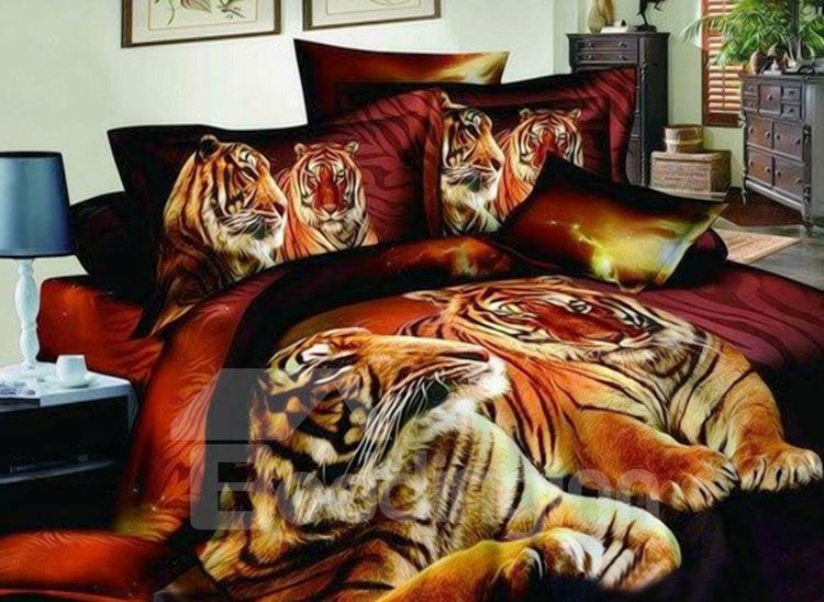 Heart-Warming Tiger Couples on Land Print 4-Piece Cotton Duvet Cover Sets