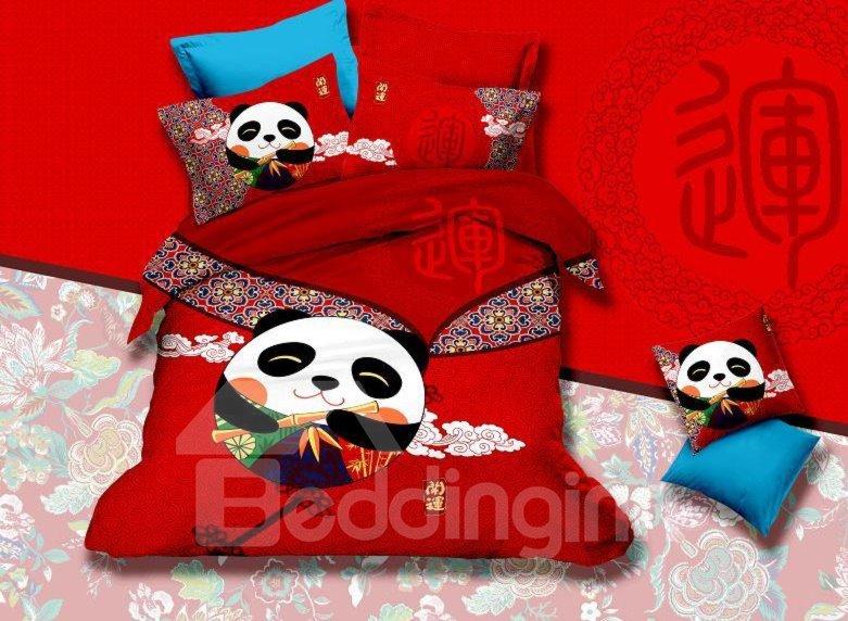 Super Cute Panda and  Auspicious Clouds Print 4-Piece Cotton Duvet Cover Sets