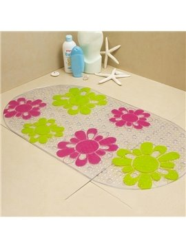Beautiful Red Green Flower Skidproof Bath Rug