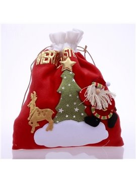 Wonderful Pleuche Christmas Santa Claus Gift Bag(Random)