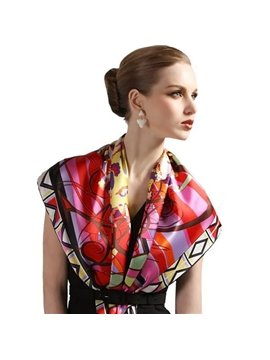 Luxury Colorful Hand Made Edge Mulberry Silk Square Scarf