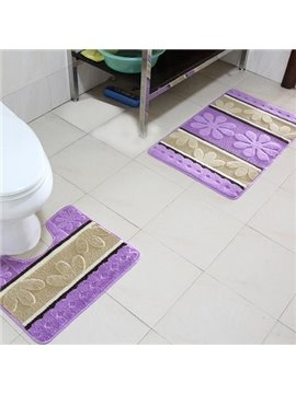 Graceful Comfy Petal Pattern Contemporary 2-piece Bath Rug