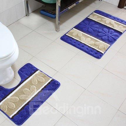 Graceful Comfy Petal Pattern Contemporary 2-piece Bath Rug