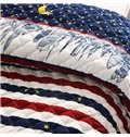 Tall Building and Stars Moon Pattern Stripes Modern Bed in a Bag