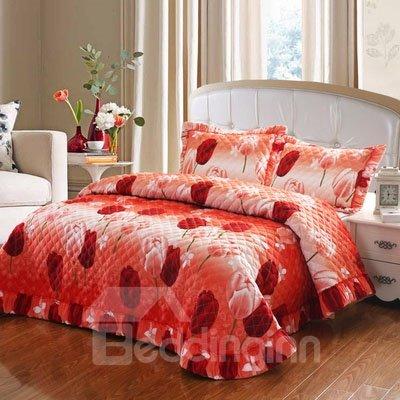 Dreamlike Red Tulip Bud Pattern Orange Flower Bed in a Bag Set