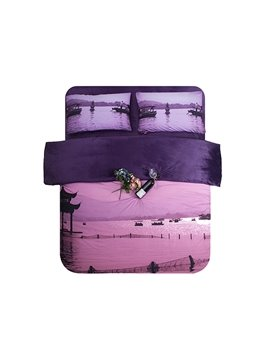 Purple Sunset and Sea Print 4-Piece Coral Fleece Duvet Cover Sets