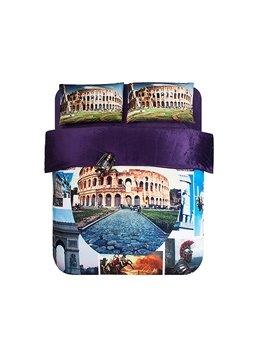 The Roman Colosseum Print 4-Piece Coral Fleece Duvet Cover Sets