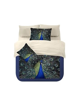 Attractive Peacock's Tail in Showing Print 4-Piece Coral Fleece Duvet Cover Sets