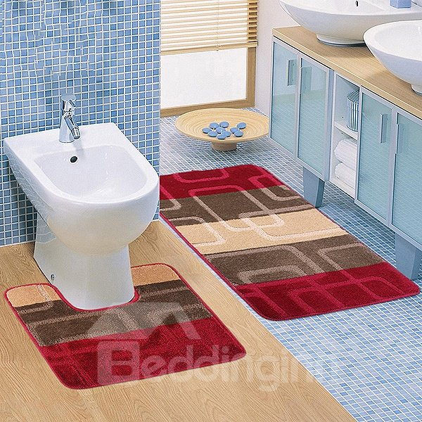Super Cozy Contemporary 2-piece Suede Bath Rug