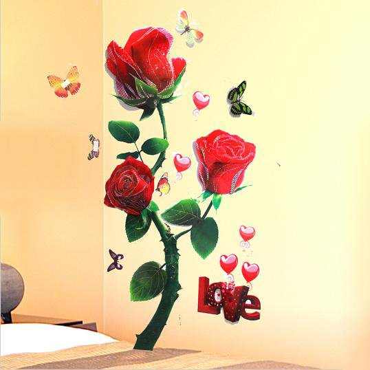 Beautiful Removable Red Rose Pattern 3D Wall Stickers