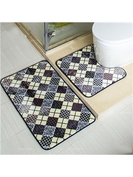 Unique Fashion Plaid Pattern 2-piece Coral Fleece Bath Rug