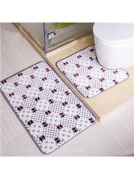 Fabulous Diamond Pattern 2-piece Coral Fleece Bath Rug
