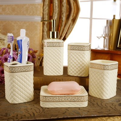 Fancy ceramic plaid pattern 5 piece bathroom accessories for Fancy bathroom sets