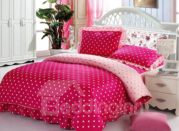 bright red polka dot pattern cotton duvet cover sets. Black Bedroom Furniture Sets. Home Design Ideas