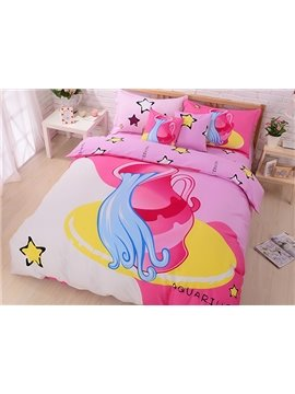Beautiful Aquarius Print 4-Piece Cotton Duvet Cover Sets