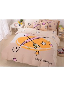 Very Comfortable Sagittarius Print 4-Piece Cotton Duvet Cover Sets