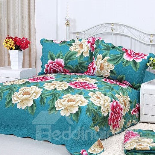 Red and Beige Blooming Flowers Print 4-Piece Cotton Duvet Cover Sets