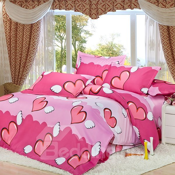 Pink Angel Heart Print 4-Piece Duvet Cover Sets