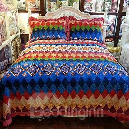 Bright Color Pattern Lotus Border Beautiful Bed in a Bag Set