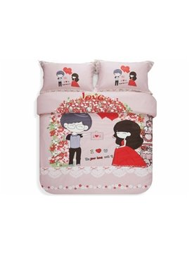 Hot Selling Korean Style Romantic Lovers 100% Cotton Duvet Cover Sets