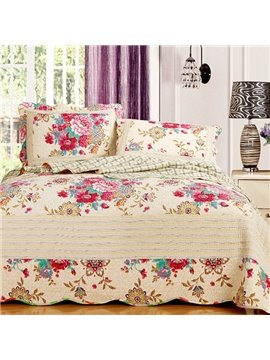 Wonderful Red Blooming Peony Pattern Beige Yellow Bed in a Bag Set