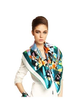 Sailing Boats Print Mulberry Silk Square Scarf
