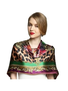 Deluxe Leopard Spot and Floral Patterns Mulberry Silk Square Scarf