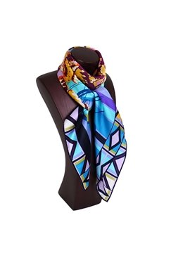 Chic Gradient Blue Patterns Mulberry Silk Square Scarf