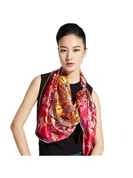 Fabulous Artistic Patterns Mulberry Silk Red Square Scarf
