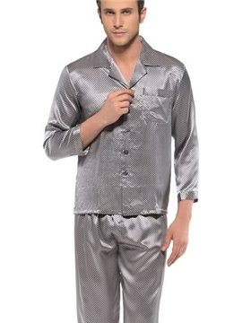 Stylish Mosiac Open Collar Long Sleeve Silk Pajamas