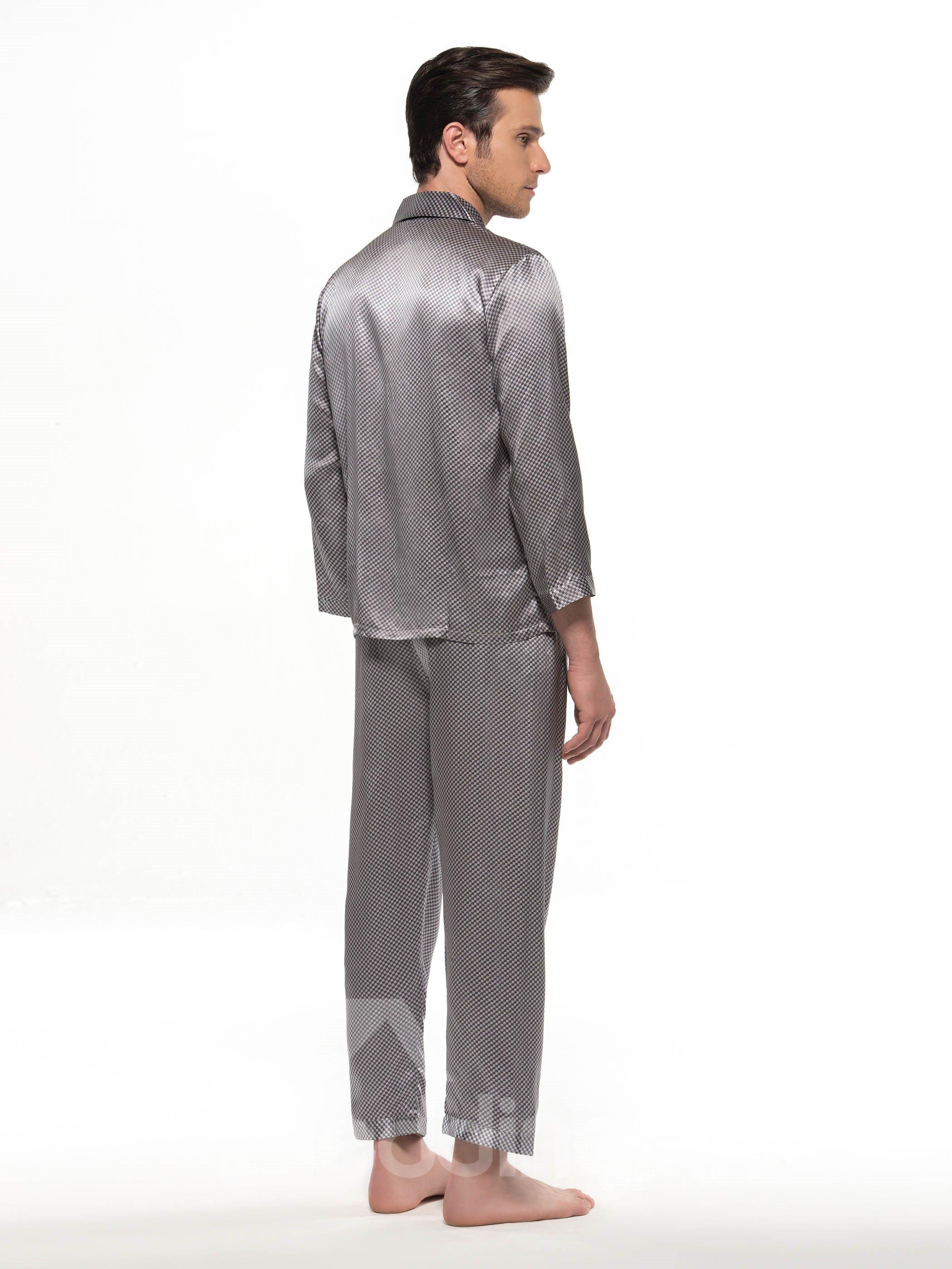 Stylish Mosiac Open Collar Long Sleeve Silk Pajamas