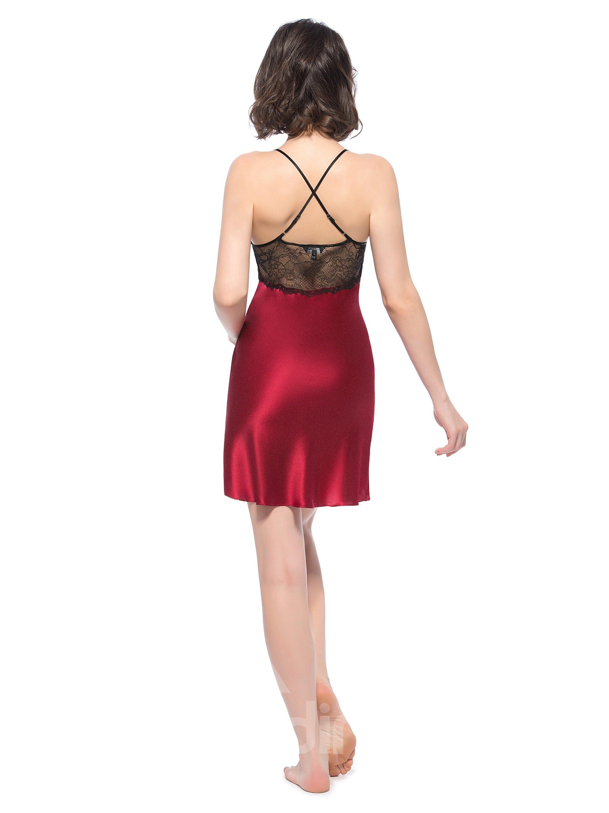 Elegant Lace Along Hip and Waist Spahetti Straps Silk Chemise