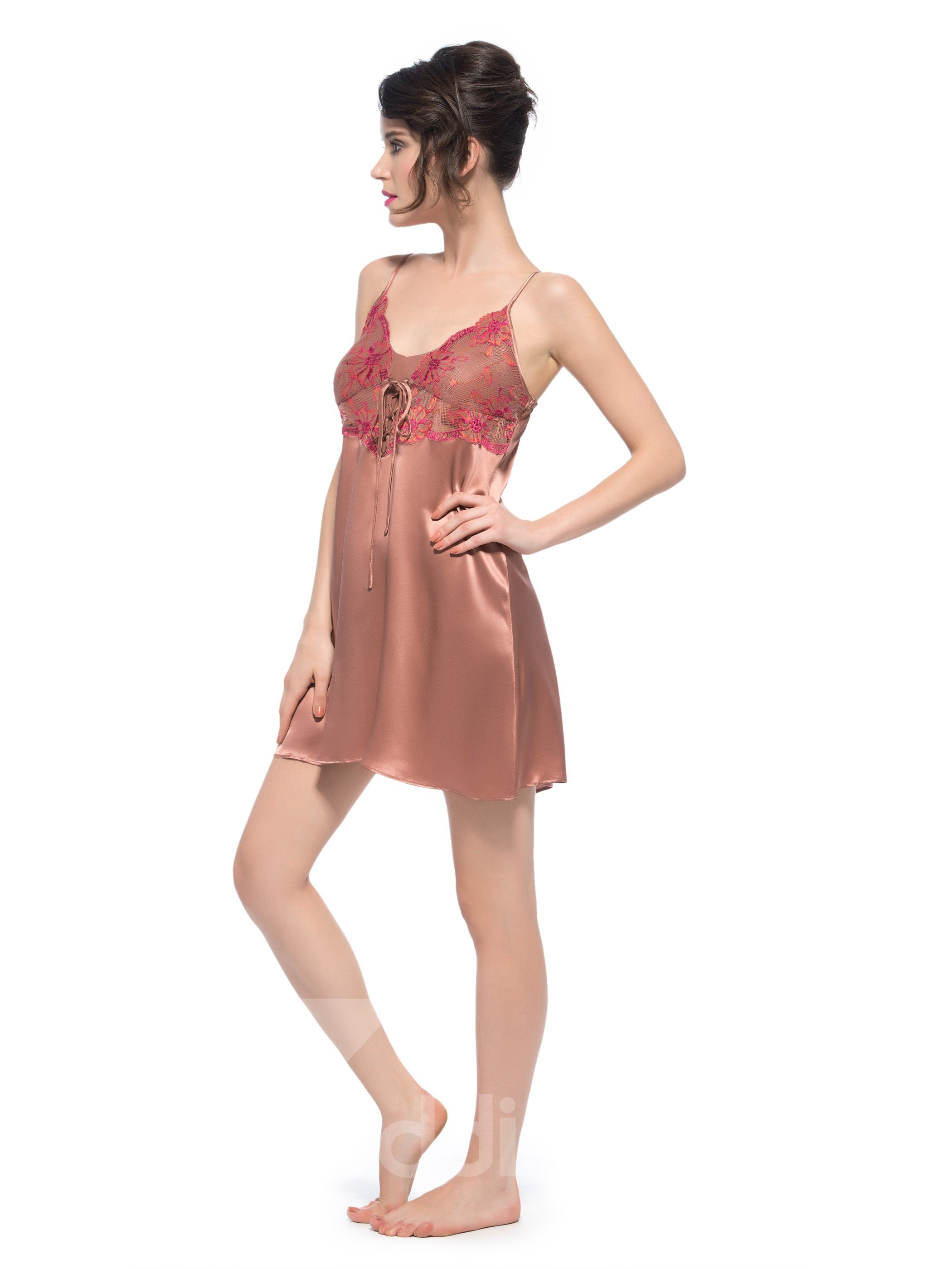 Delicate Open Back Hem Adjustable Built-up Strap Silk Chemise