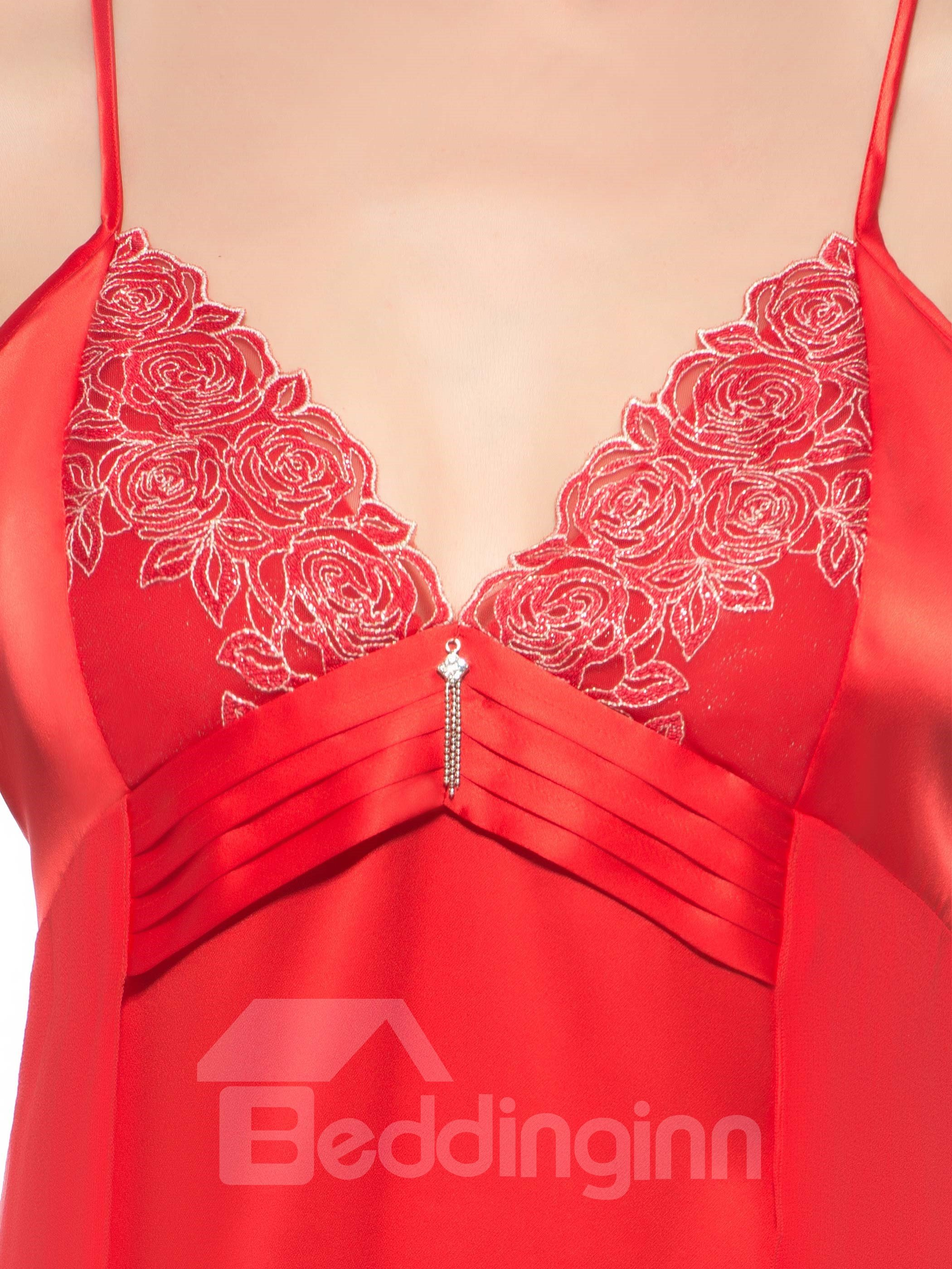 Slim Flower Embroidery Bust Sheer Fabric Along Hip Silk Chemise