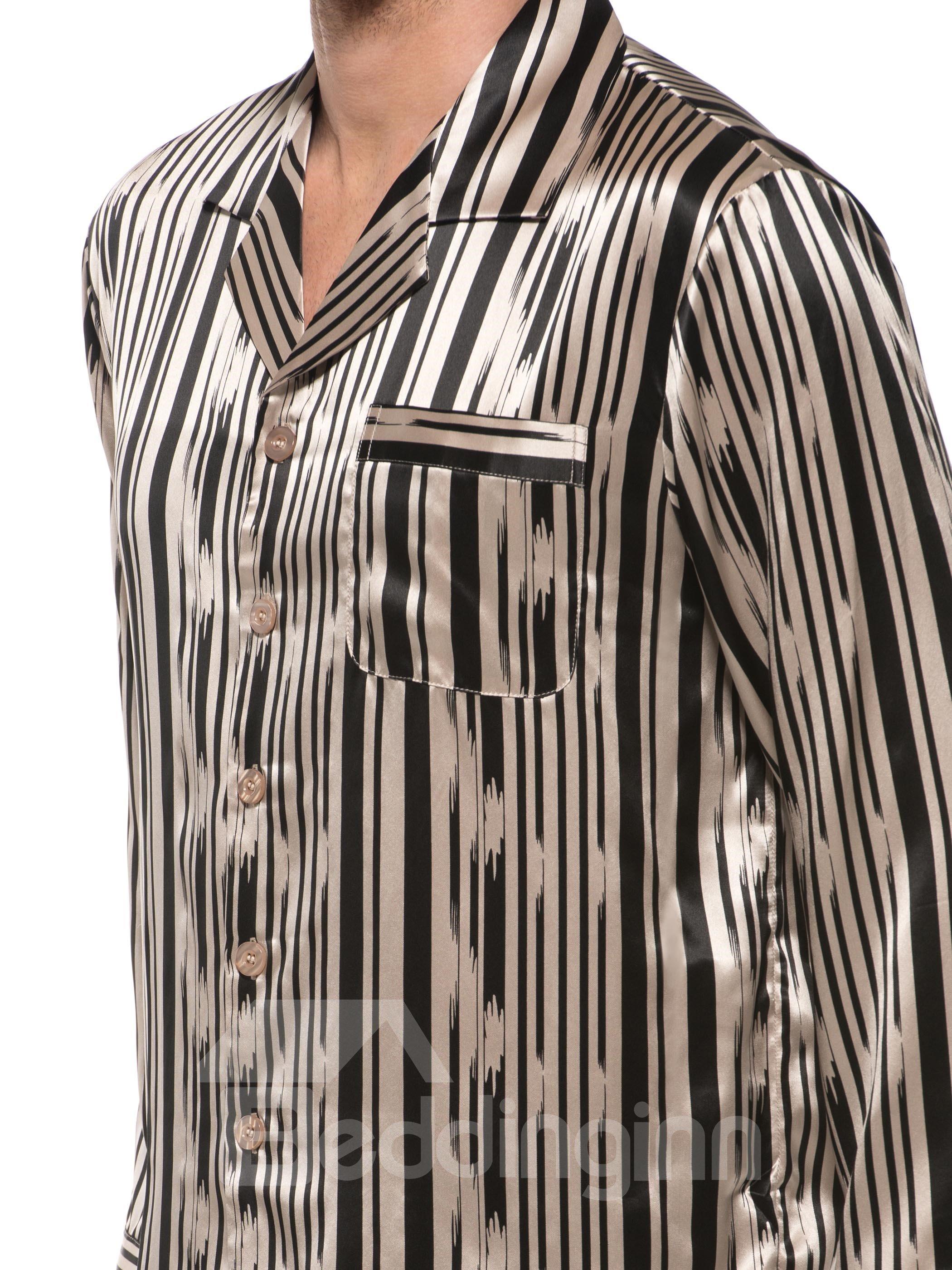 Long Sleeve Stylish Stripes Open Collar Silk Pajamas