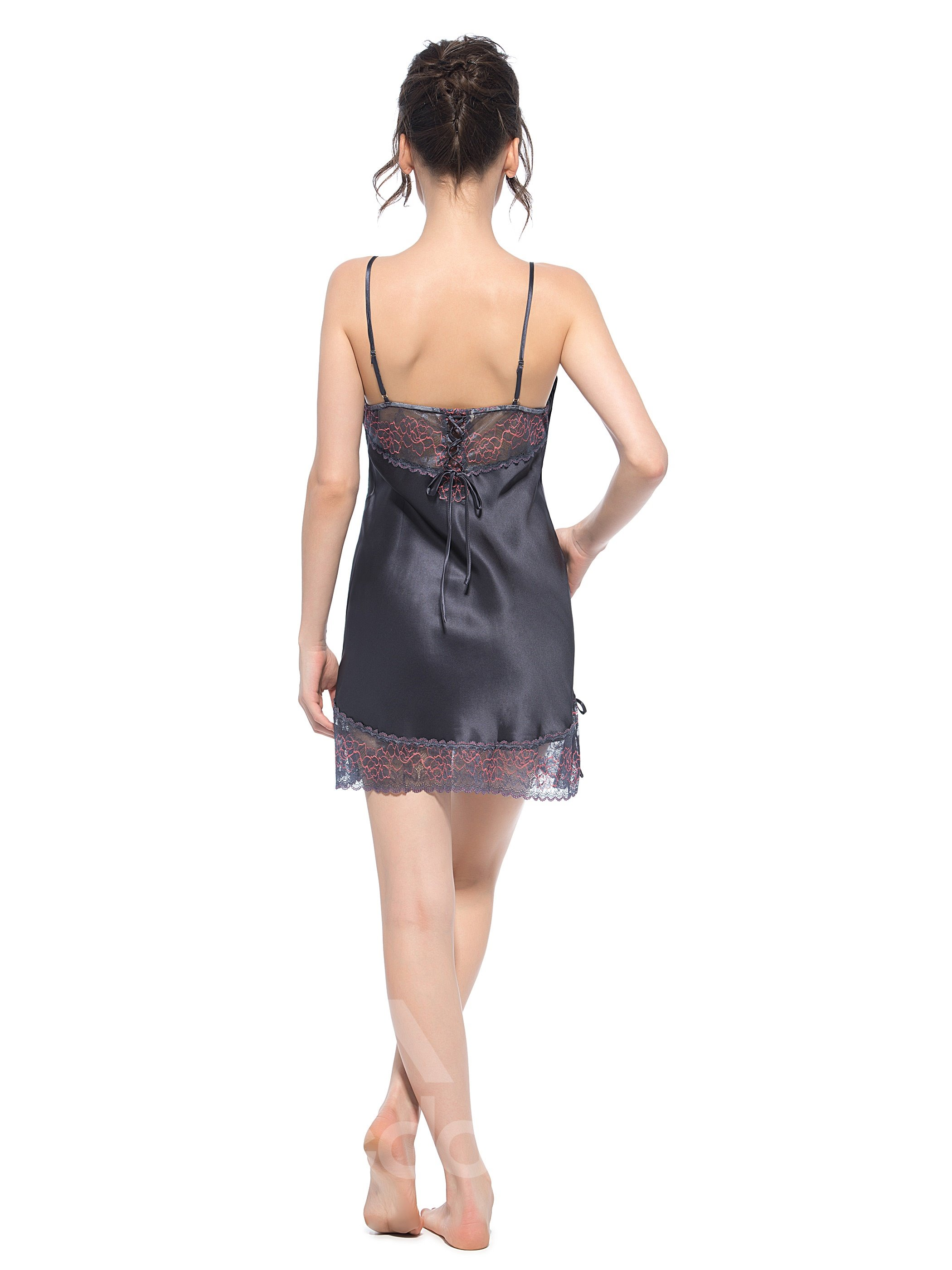 Amazing Embroidery Bust Lace Edged Hem Dark Gray Silk Chemise