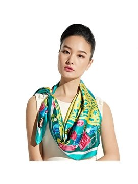 Fabulous Colorful Jewels Mulberry Silk Green Square Scarf